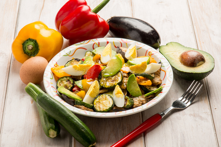 grilled vegetables salad with avocado Stock Photo