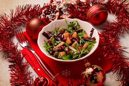 salad with smoked salmon chicory arugula and pomegranate
