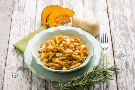 pasta with pumpkin rosemary and scamorza cheese