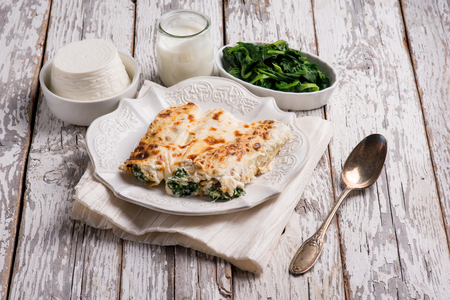 cannelloni ricotta and spinach 스톡 콘텐츠