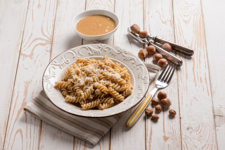 fusilli with hazelnut pesto Stock Photo