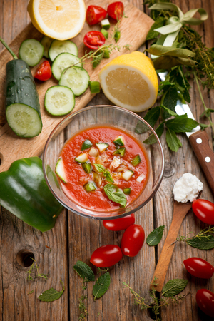 tomato gazpacho with ingredients Banco de Imagens