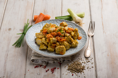 chicken stewed with carrota leek and fennel seed Stok Fotoğraf