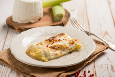 vegetarian cannelloni with ricotta cheese and leek Banque d'images