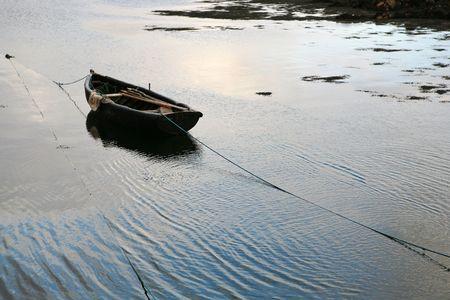 connemara: Boat on the sea in the Connemara region, Ireland.