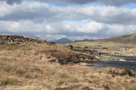 connemara: Wild landscape with a dark lake in Connemara, Ireland.