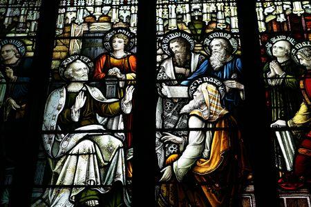 edinburgh: Stained glass window in a church in Edinburgh, Scotland. Stock Photo