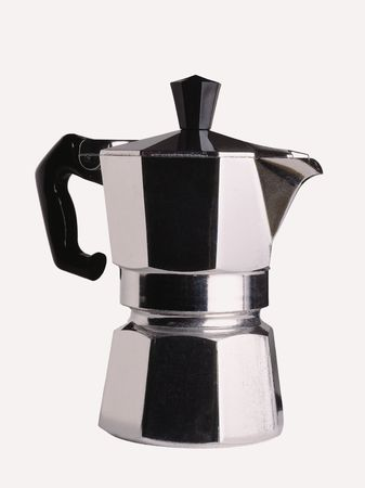 coffeemaker: An Italian coffee-maker on a white background.