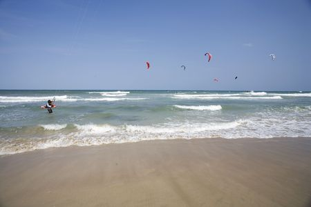 mediterraneo: Kitesurfers near Ostuni in Italy.