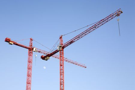 Red cranes with blue sky as background with moon. photo