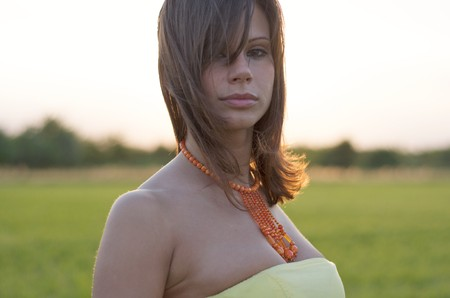 An attractive young woman in a dress and beaded necklace looks at the camera while standing in an open field. Vertical shot. Stock Photo - 7342841