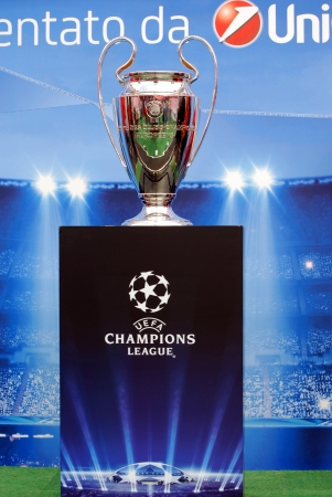palermo   italy: Palermo, Italy - October 05, 2012 - Exhibition of the Champions League Trophy at the Unicredit Tour Editorial