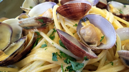 mediterrean: Spaghetti with clams Stock Photo