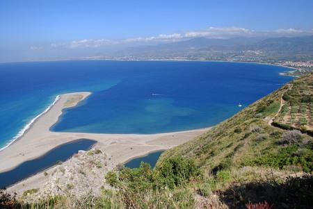 Panorama of the Laghetti di Marinello Nature Reserve: A suggestive glimpse of the Oriented Laghetti di Marinello Nature Reserve which extends in the municipality of Patti (Messina, Italy). Banco de Imagens