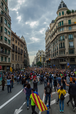 Barcelona, ??Spain 03-08-2017 Pacific protest against the law enforcement violence during the referendum for the independence of catalonia Editorial