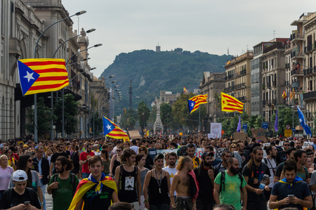 Barcelona, Spain 03-08-2017 Pacific protest against the law enforcement violence during the referendum for the independence of catalonia