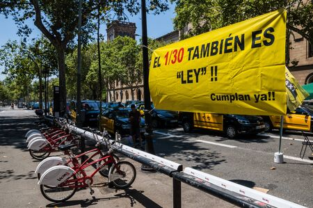 Barcelona, Catalonia / Spain - July 31 2918: taxi strike in Barcelona continues bloking the streets