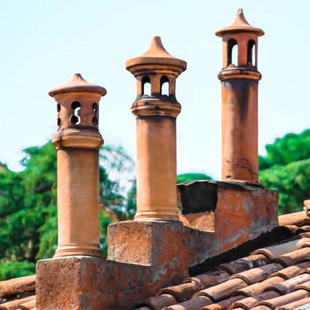tree handmade chimneys on the top of a roof