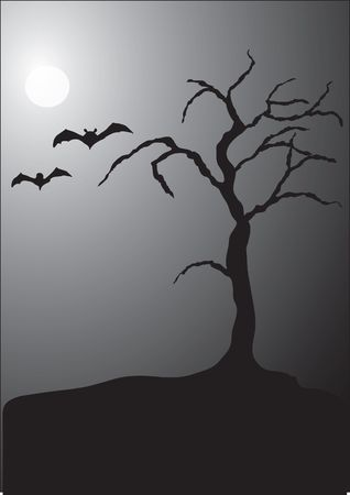 halloween scene, with a spooky tree, full moon, and a couple of bats Stock Photo
