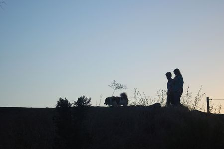 Silhouette of a couple going out for an evening stroll walking their dog. 版權商用圖片