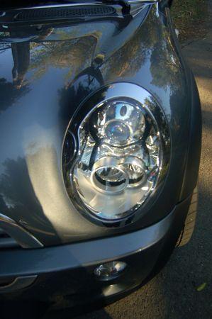 sportscar: A headlight closeup of a sportscar Stock Photo
