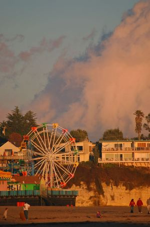 Fair rides on the boardwalk in Santa Cruz, California