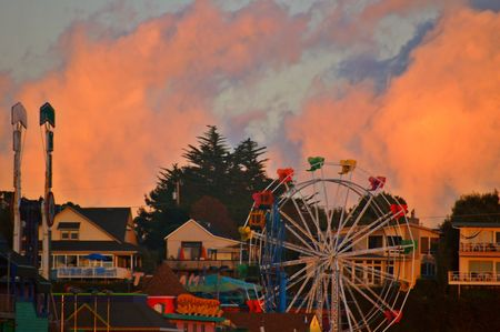 Fair rides on the boardwalk in Santa Cruz, California  photo
