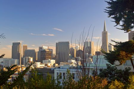 coit: San Francisco skyline as seen from the base of the Coit Tower