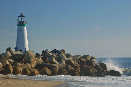 The beach in Santa Cruz, California, with the lighthouse