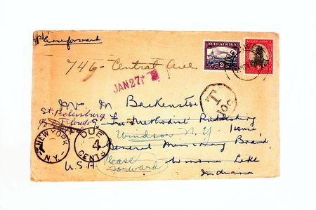 old envelope with postage 스톡 콘텐츠