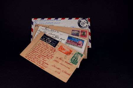 vintage mail from around the world Banco de Imagens
