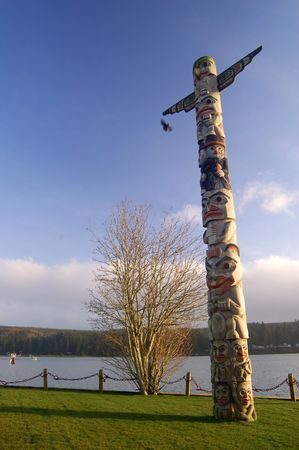 A Pacific Northwest native American totem pole Stock Photo - 307259