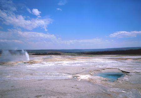 geyser in Yellowstone national park Фото со стока