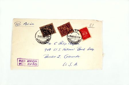 postmarked: old envelope with postage Stock Photo