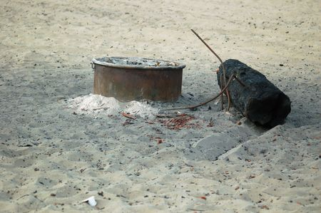 old campfire at the beach