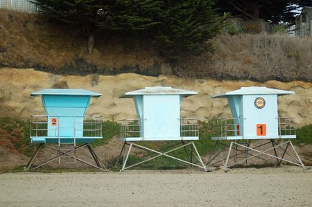 lifeguard shacks at the beach in santa cruz, california