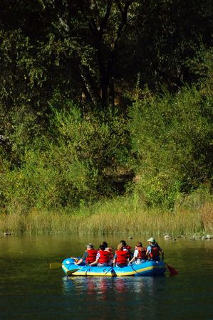 riding a raft on the American river