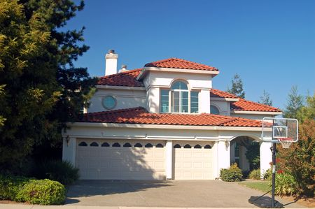 mediterranian style: house in the suburbs Stock Photo