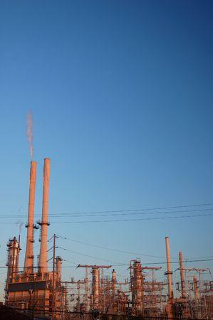 sunset in an industrial area 版權商用圖片