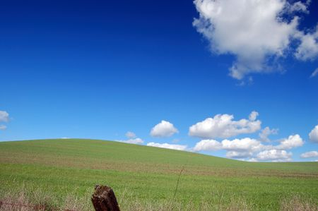 country field with fenceposts Imagens