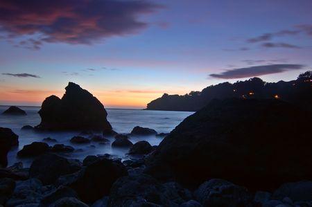 muir: Sunset at Muir Beach, Marin County, California Stock Photo