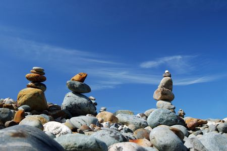 roks on a ridge stacked in piles