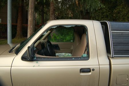 jacked: vehicle broken into by theives Stock Photo