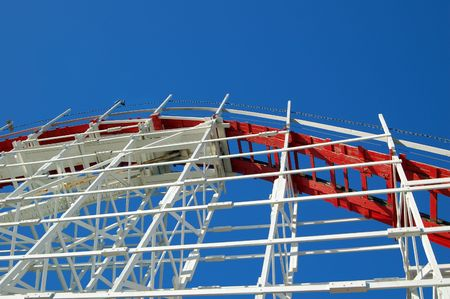 rollercoaster with a blue sky