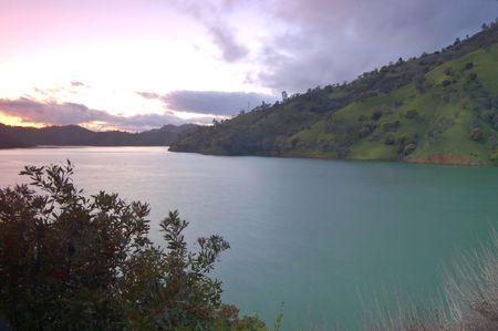 sunset at lake berryessa, california