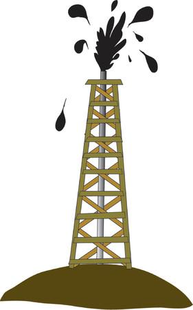 puits de petrole: Puits de p�trole jaillissant d'huile