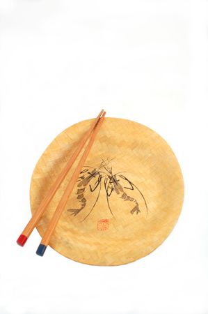 bamboo plate with wooden chopsticks Imagens