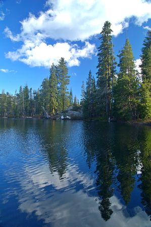 Alpine Scenery in the Northern Sierra near Lake Tahoe Stock Photo