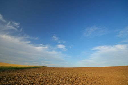 farming area: afternoon field in a farming area Stock Photo