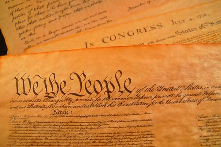 Preamble to the Bill of Rights and the Declaration of independence in the background Stock Photo - 509075